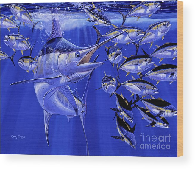 Blue Marlin Wood Print featuring the painting Blue Marlin Round Up Off0031 by Carey Chen