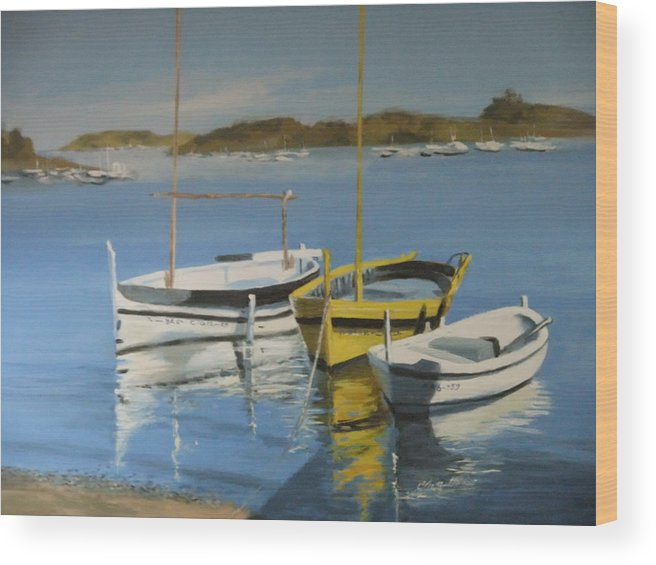 Boats Outside Salvador Dali's House Wood Print featuring the painting boats of Cadaques by Clive Holden