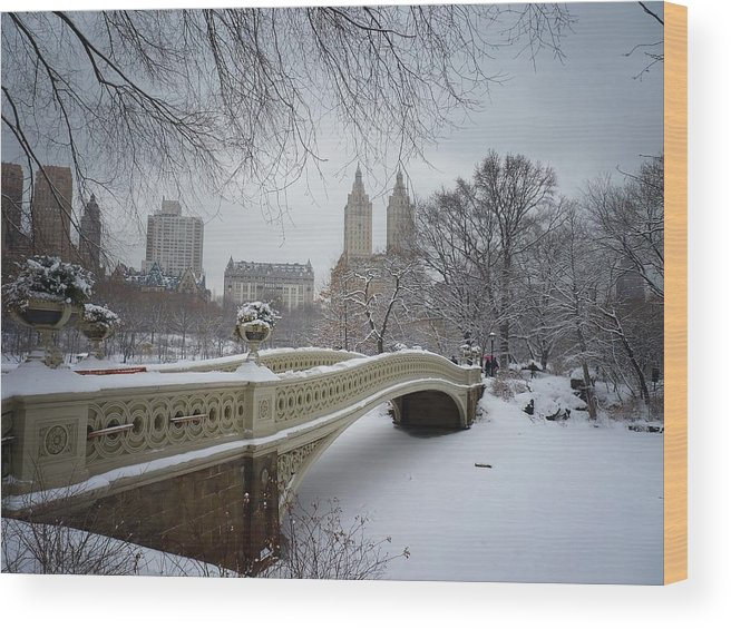 Landscape Wood Print featuring the photograph Bow Bridge Central Park In Winter by Vivienne Gucwa