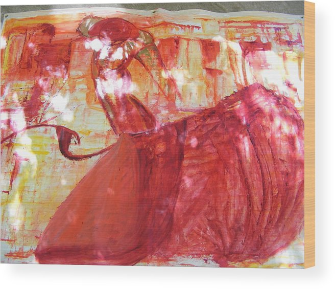 Oil Painting Wood Print featuring the painting Bullfighter In Nimes France by Sina