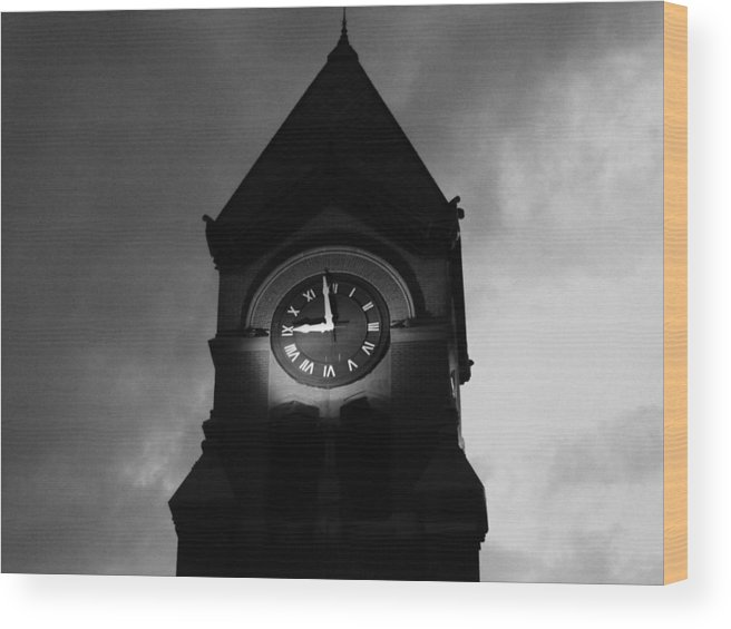 Clock Tower Wood Print featuring the mixed media Bw Tempest by Tim Anderson