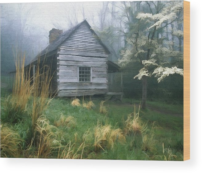 Cabin Fever On Rainy Spring Day In The Great Smoky Mountains Wood Print