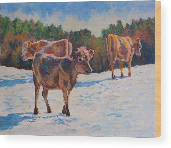 Impressionism Wood Print featuring the painting Calves In Snow by Keith Burgess