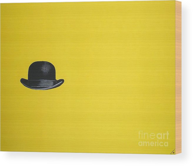 Bowler Hat Wood Print featuring the painting Canary Yellow by Venus