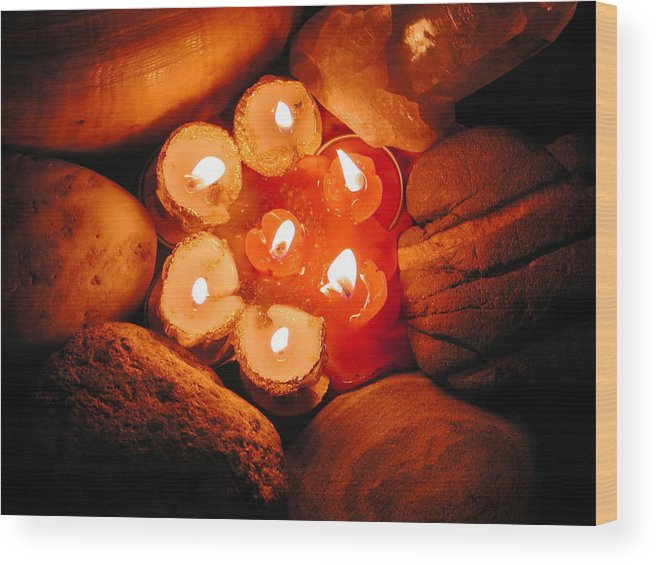 Coletteguggenheim Wood Print featuring the photograph Candle Light by Colette V Hera Guggenheim