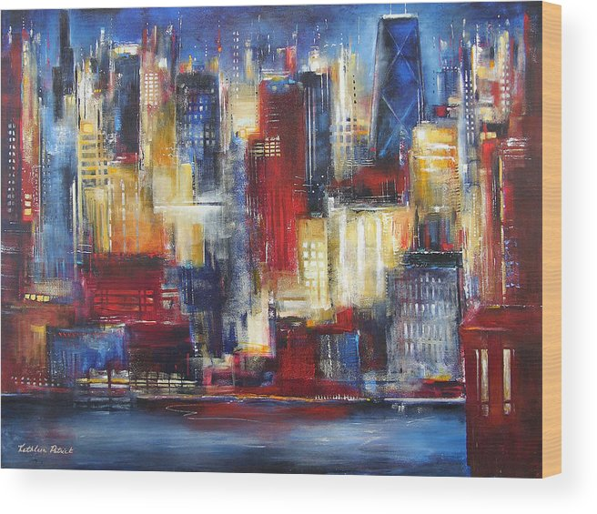 Chicago Art Wood Print featuring the painting Chicago In The Evening by Kathleen Patrick