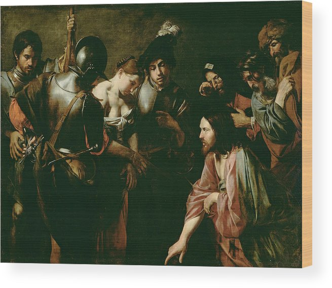 Valentin De Boulogne Wood Print featuring the painting Christ And The Adulteress by Valentin de Boulogne