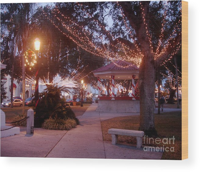 Photograph Wood Print featuring the photograph Christmas In St. Augustine by Tobi Czumak