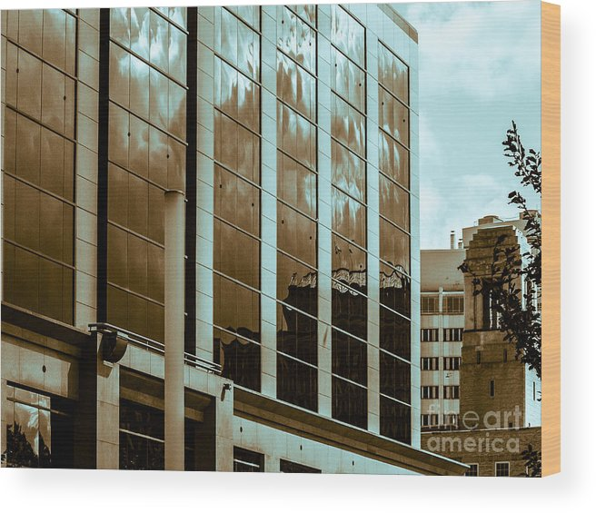 Urban Reflection Wood Print featuring the photograph City Center-15 by David Fabian