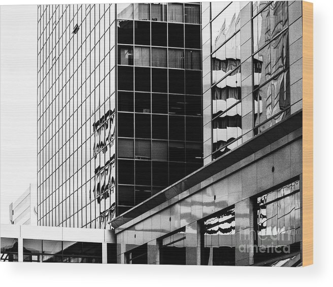 Black And White Wood Print featuring the photograph City Center-16 by David Fabian