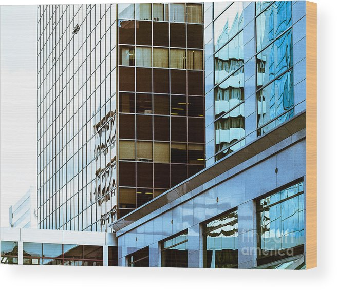 Urban Digital Colour Wood Print featuring the photograph City Center-17 by David Fabian