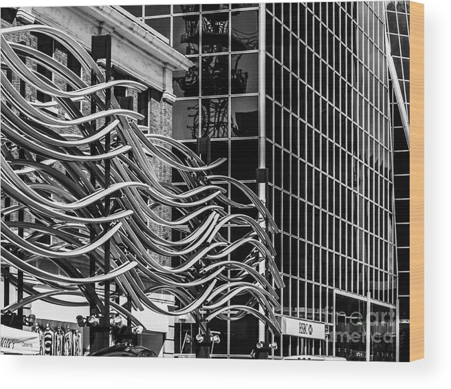 Digital Black And White Wood Print featuring the photograph City Center-26 by David Fabian