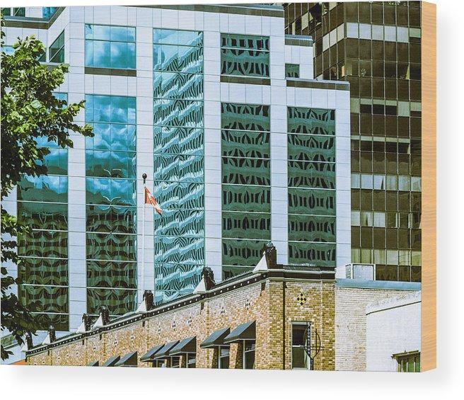 Urban Digital Colour Wood Print featuring the photograph City Center-63 by David Fabian