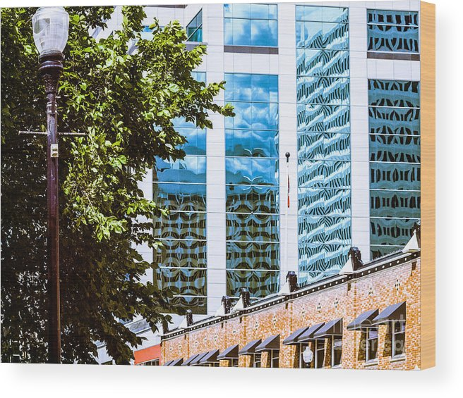 Urban Colour Wood Print featuring the photograph City Center -67 by David Fabian