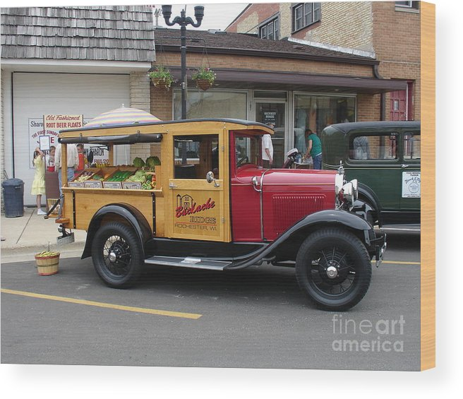 Wood Print Featuring The Digital Art Classic Food Truck By Julie Dowdell