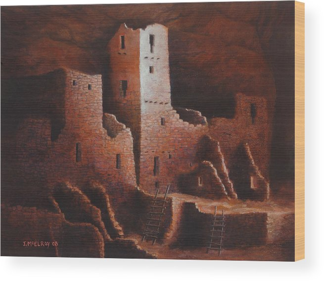 Anasazi Wood Print featuring the painting Cliff Palace by Jerry McElroy