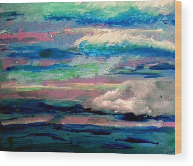 Abstract Wood Print featuring the painting Clouds by Nikki Dalton