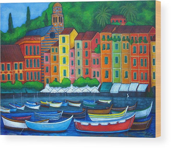 Portofino Wood Print featuring the painting Colours Of Portofino by Lisa Lorenz