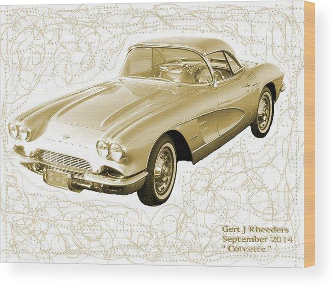 Art Wood Print featuring the photograph Corvette Sport Car Catus 1 No 2 by Gert J Rheeders