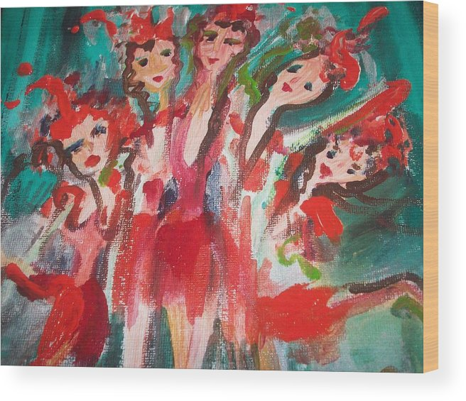 Showgirl Wood Print featuring the painting Crazy Joker Showgirls by Judith Desrosiers