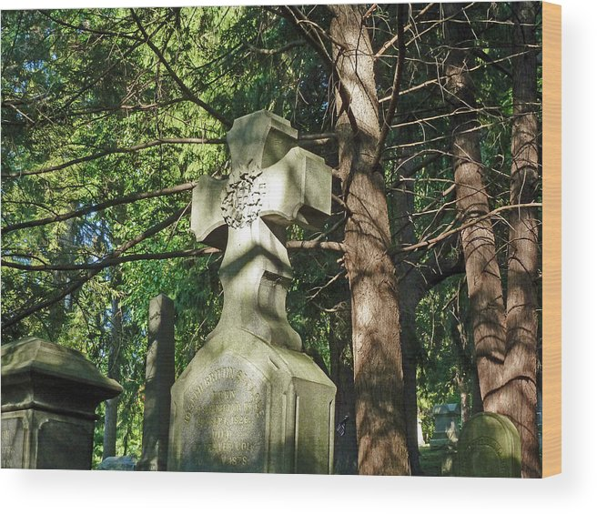 Tree Wood Print featuring the photograph Cross In The Forest by Felix Concepcion