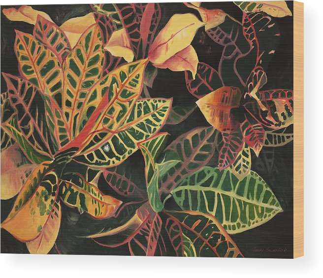 Croton Leaves Wood Print featuring the painting Croton Leaves by Judy Swerlick