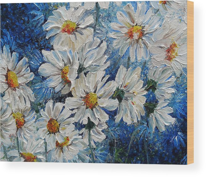Daisies Wood Print featuring the painting Daisy Cluster by Karin Dawn Kelshall- Best
