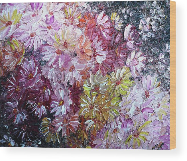 Flowers Wood Print featuring the painting Daisy Mix  Sold by Karin Dawn Kelshall- Best