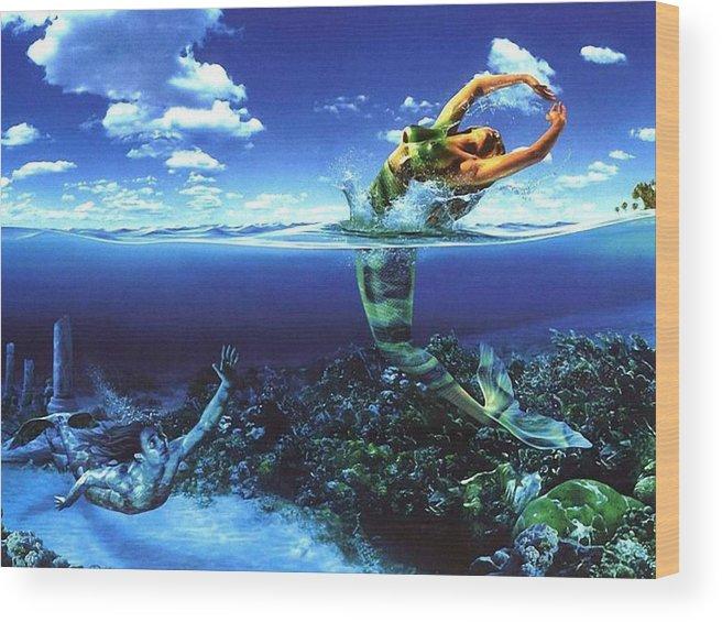 Mermaid��dancing Wood Print featuring the painting Dance by Raphael Sanzio