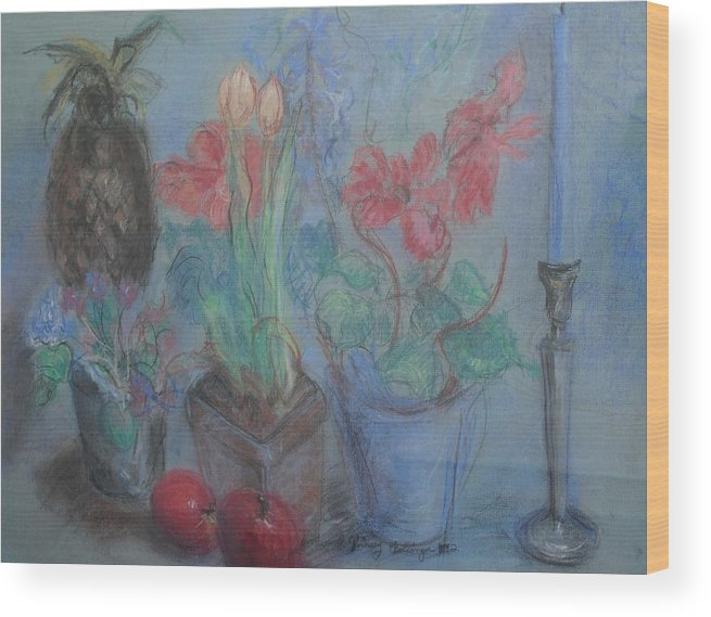 Pastel Wood Print featuring the pastel Dancing Still Life In Pastel by Patricia Kimsey Bollinger