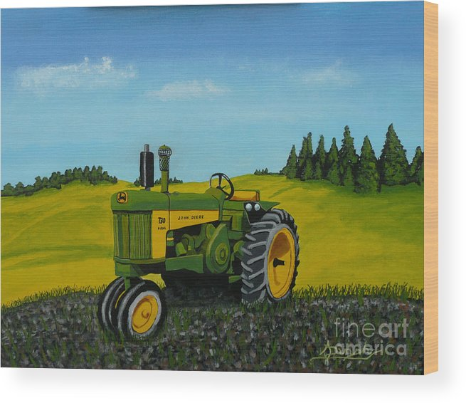 John Deere Wood Print featuring the painting Dear John by Anthony Dunphy