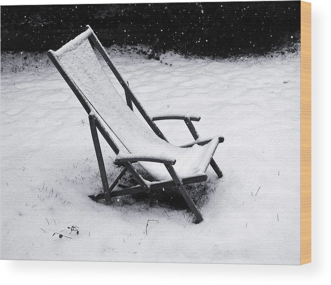 People Wood Print featuring the photograph Deck Chair Under The Snow by Jean Schweitzer