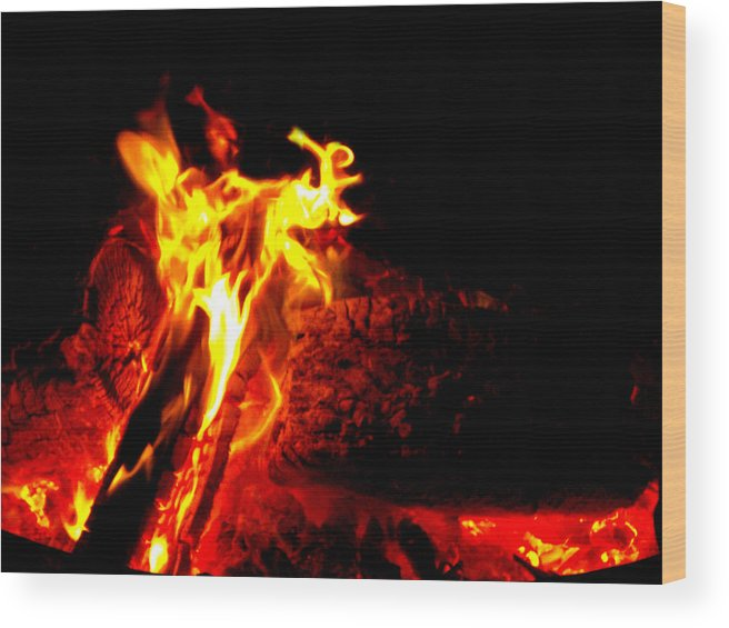 Devil Wood Print featuring the mixed media Devil Flame by Tim Anderson