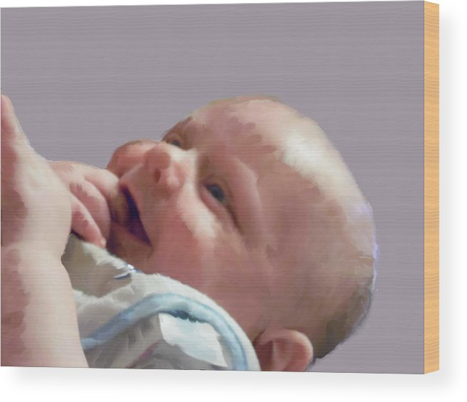 Baby Wood Print featuring the digital art Digital Baby by Chad Milburn
