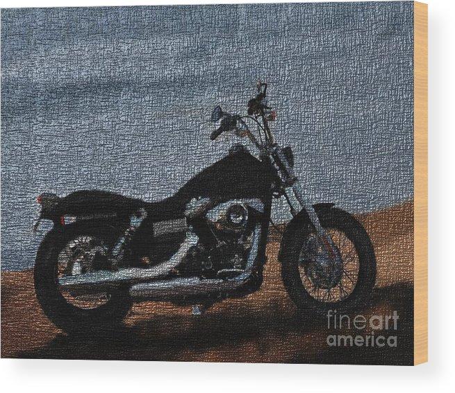 Harley Wood Print featuring the digital art Digitally Airbrushed Street Bob by TK Mayfield