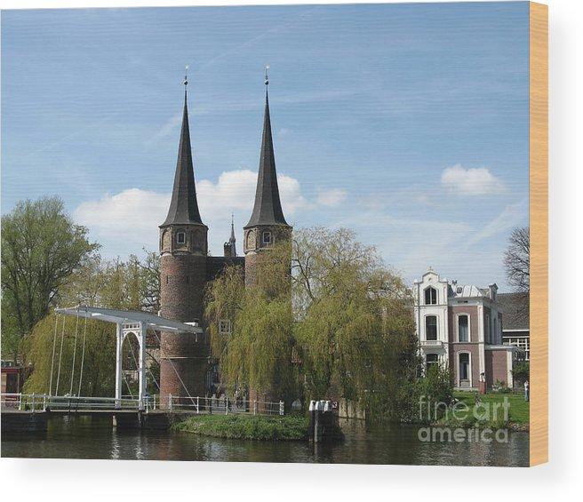 Drawbridge Wood Print featuring the photograph Drawbridge - Delft - Netherlands by Christiane Schulze Art And Photography