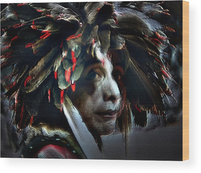Native American Indian Wood Print featuring the photograph Eagle Feather by Irma BACKELANT GALLERIES