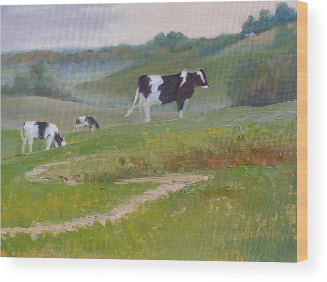 Cows Wood Print featuring the painting Early Morning Holsteins by Judy Fischer Walton
