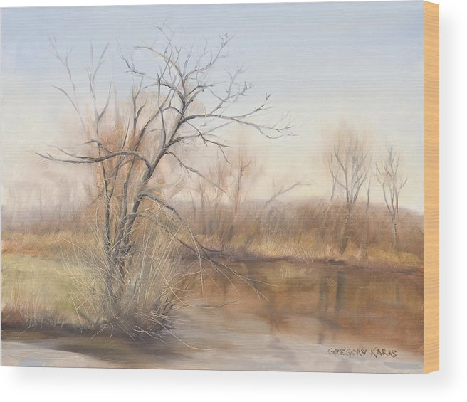 Nature Wood Print featuring the painting Early Spring Awakes by Gregory Karas