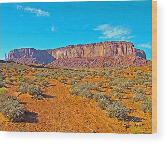 Elephant Butte From Wildcat Trail In Monument Valley Navajo Tribal Park Wood Print featuring the photograph Elephant Butte From Wildcat Trail In Monument Valley Navajo Tribal Park-arizona  by Ruth Hager