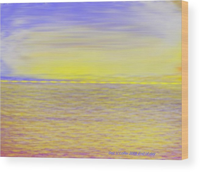 Sky.clouds.sun Reflection On Clouds.colr Clouds.sunset.sun.yellow.sea.waves.sun Reflection On Water. Wood Print featuring the digital art End Of Day by Dr Loifer Vladimir