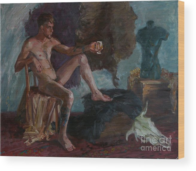 Man Wood Print featuring the painting Etude 51 by Sergey Sovkov