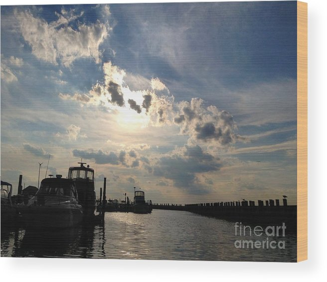 Sunset Wood Print featuring the digital art Evening Marina by Digital Designs By Dee