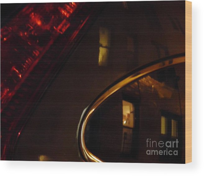 Night Wood Print featuring the photograph Evening Reflection On A Parked Car by Sarah Loft