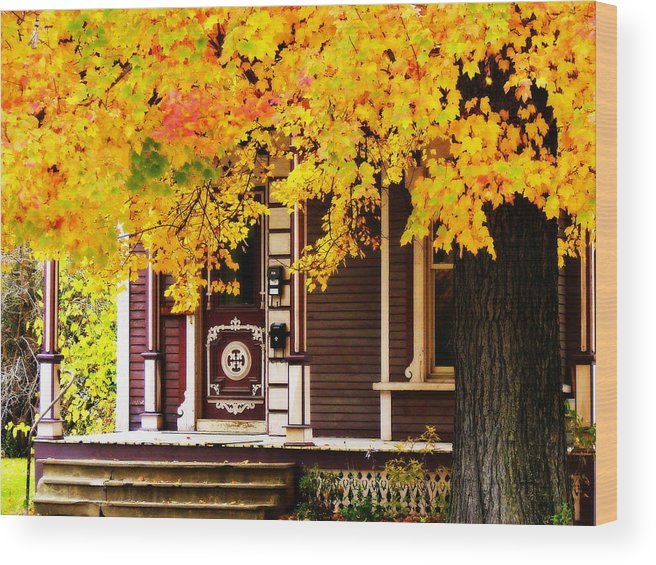 Nostalgia Wood Print featuring the photograph Fall Canopy Over Victorian Porch by Rodney Lee Williams