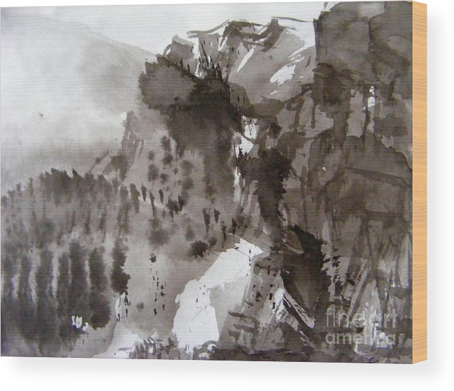 Ink Brush Painting Wood Print featuring the painting Fantasy Ski Run by Nancy Kane Chapman