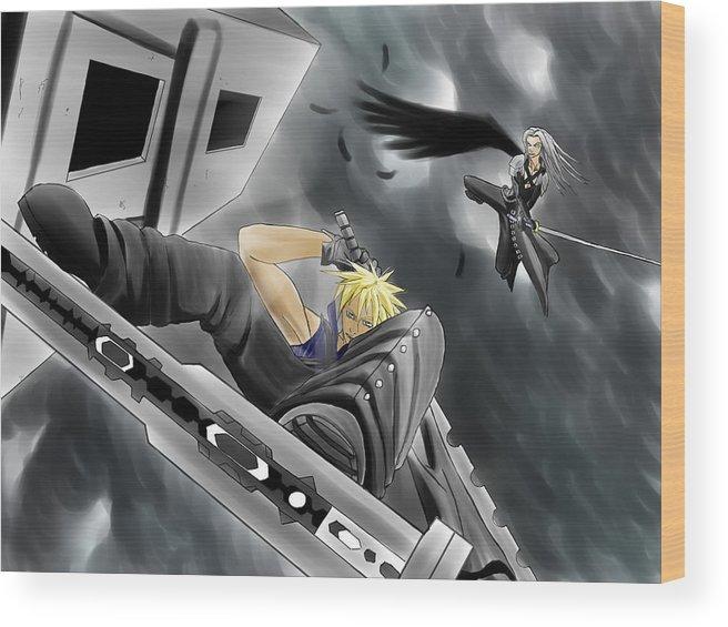 Final Fantasy 7 Cloud Vs Sephiroth Wood Print