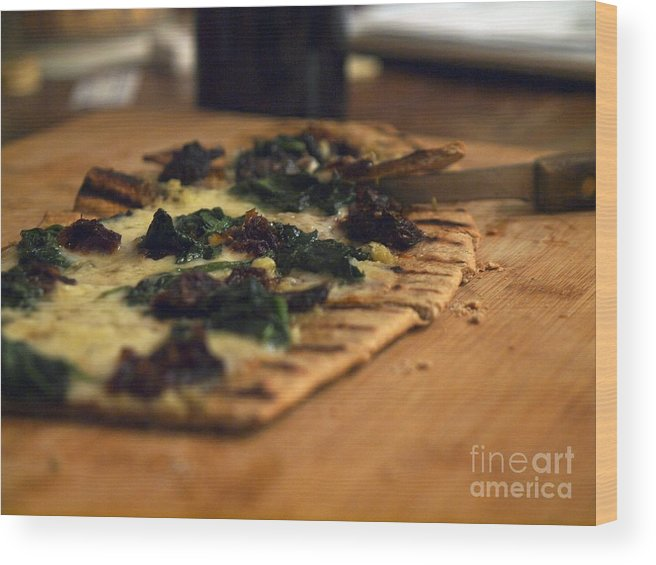 Food Wood Print featuring the photograph Flat Bread Pizza by John Lombardi