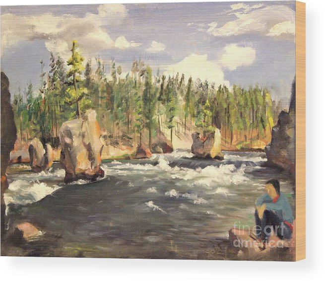 Boulders Wood Print featuring the painting Floating Boulders On The Yellowstone River 1950s by Art By Tolpo Collection