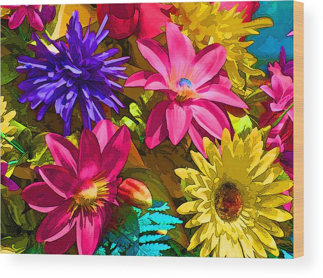 Colorful Flowers Wood Print featuring the digital art Floral Colors 1 by Ray White